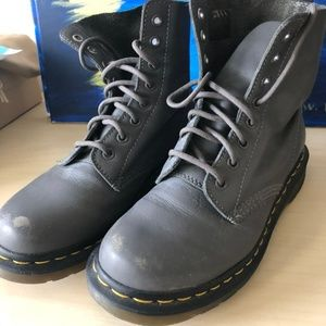 dr martens grey gray  lace up boots